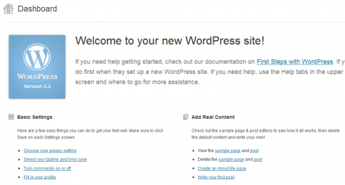 Welcome Panel in WordPress 3.3
