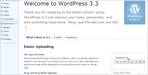 WordPress 3.3: Begrüßung nach dem Update