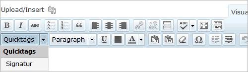 WordPress: der neue Quicktag im visuellen Editor