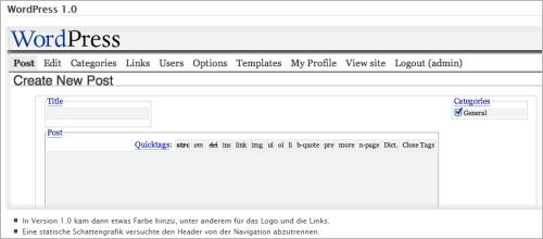Das Backend von WordPress 1.0