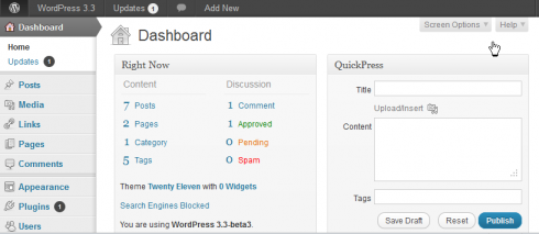 WordPress 3.3: Buttons am alten Platz
