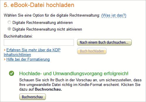 KDP: Datei hochladen und konvertieren