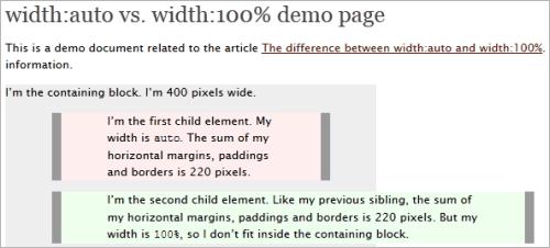 CSS: unterschied zwischen dem Wert auto und 100% bei der Eigenschaft width