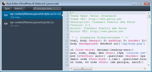 Style-Editor in Mozilla Firefox 11