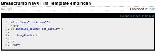 Code-Beispiele auf Snipplr