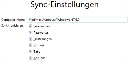 Firefox 11 Aurora: alles synchronisieren