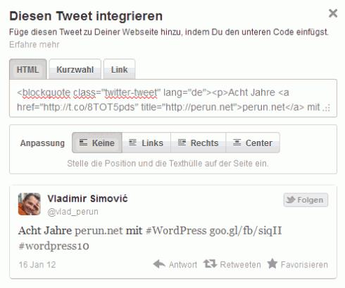 Tweet-Code integrieren