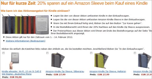 Amazon Kindle: 20% Nachlass bei den Kindle-Hüllen
