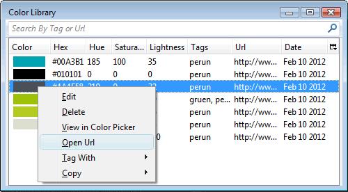 Die gespeicherten Farbwerte in der Library von Color Rainbow Tools