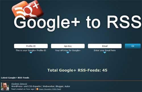 Google+ zu RSS