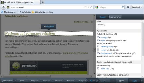 Mozilla Firefox 10: Seiten-Inspektor im Einsatz