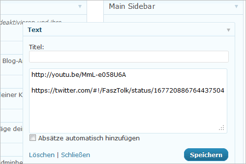 WordPress: oEmbed in der Sidebar