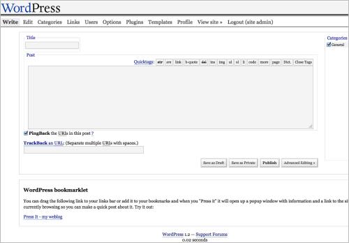 Der Editor von WordPress 1.2