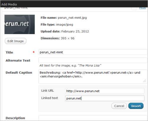 WordPress 3.4: HTML in den Bildbeschriftungen