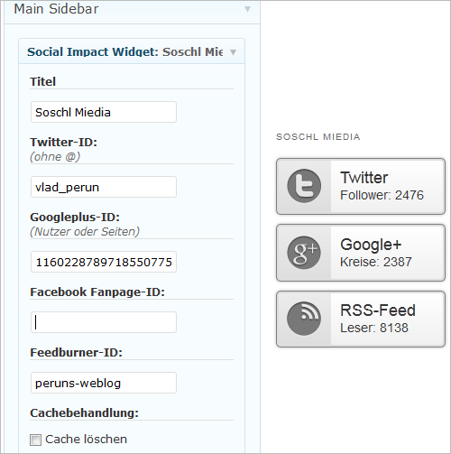 WordPress: Social Media Impact Widget