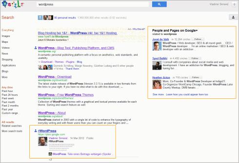 Google-Suche nach WordPress mit Hinweisen zu Google+ Seiten