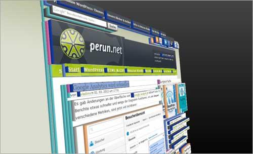 Die 3D-Ansicht des Page Inspectors in Mozilla Firefox 11