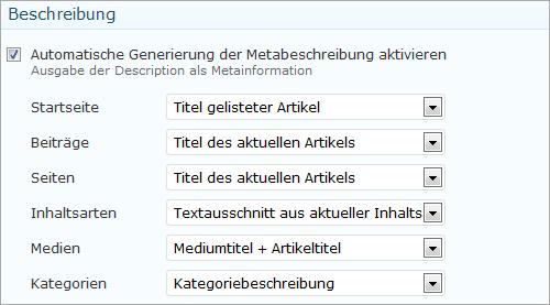 wpSEO: individuelle Seitenbeschreibungen