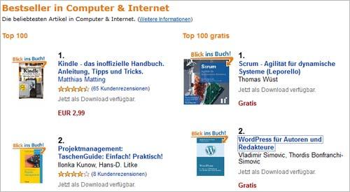 Amazon-Aktion: Platz zwei bei kostenlosen Computer-Büchern