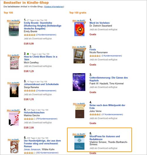 Amazon-Aktion: Platz Nr. 5 aller kostenlosen E-Books