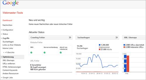 Anpassungen an den Webmaster Tools von Google