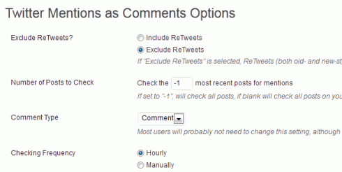 "Optionen des WordPress-Plugins ""Twitter Mentions as Comments"""