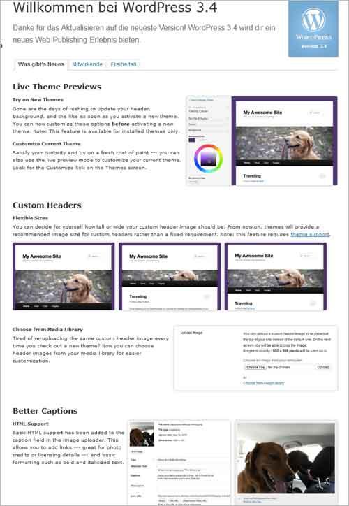WordPress 3.4 Begrüßungsbildschirm