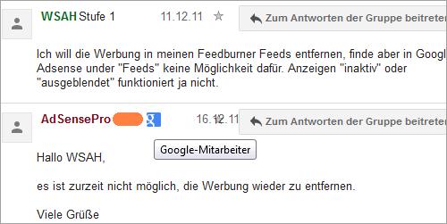 Google AdSense aus den Feeds kann man nicht entfernen