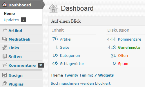 WordPress: schnörkelloses Backend-Design