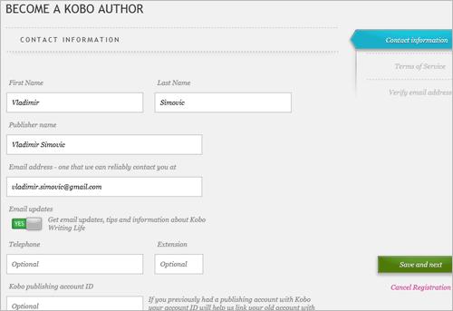 Sich als Autor bei Kobo anmelden