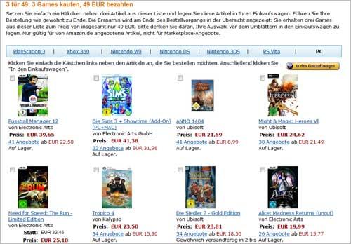 Amazon.de: 3 Spiele für zusammen 49 Euro