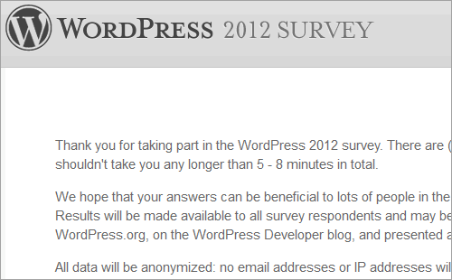 WordPress-Umfrage 2012