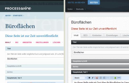 Dieselbe Ansicht des Backends – links mit dem Standard Admin Theme von ProcessWire, rechts mit dem Teflon Admin Theme.