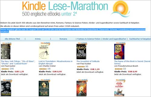 Kindle Lese-Marathon: 500 englischsprachige E-Books deren Preise auf unter 2 Euro reduziert wurden