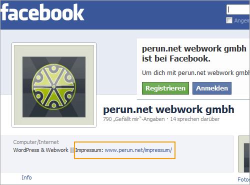 Korrekte Einbindung eines Impressum-Links auf einer Facebook-Seite
