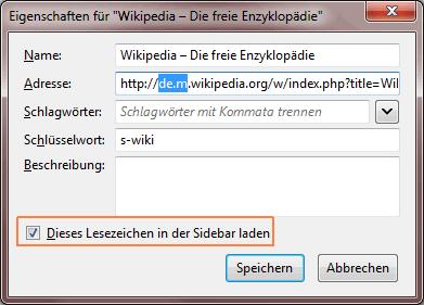 Mozilla Firefox: Lesezeichen in der Sidebar aufmachen lassen