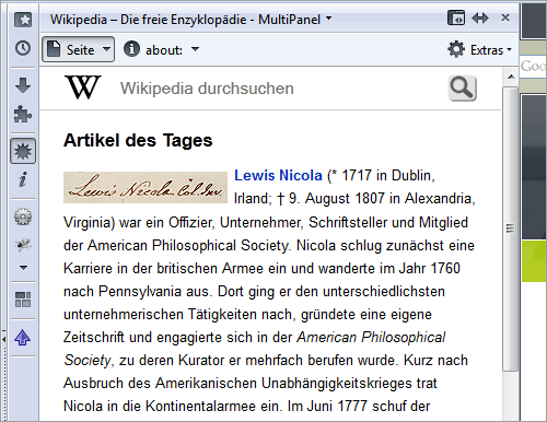 Mozilla Firefox: mobile Wikipedia in der Sidebar