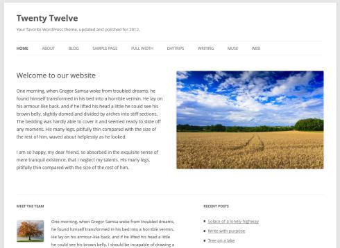 Die Startseite des WordPress-Themes Twenty Twelve