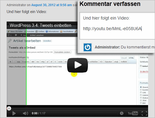 WordPress: Einbetten (oEmbed) in Kommentaren