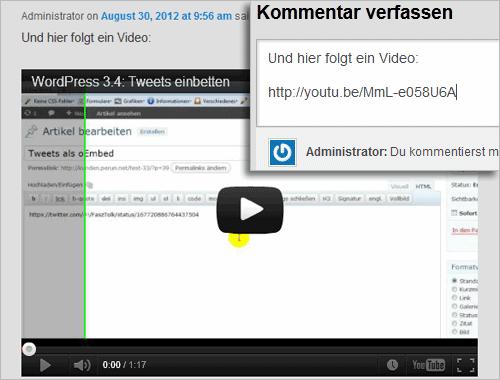 WordPress: Einbetten (oEmbed) in Kommentaren