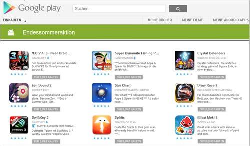 Preisreduzierte Android-Apps auf Google Play