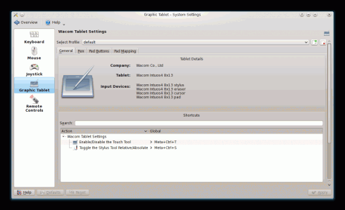 Wacom-Tablet-Einstellungen unter KDE