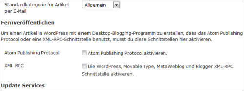 XML-RPC-Einstellungen in WordPress 3.4