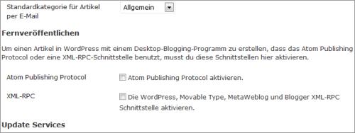 XML-RPC-Einstellungen in WordPress 3.4