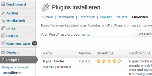 WordPress 3.5: Favorit-Plugins