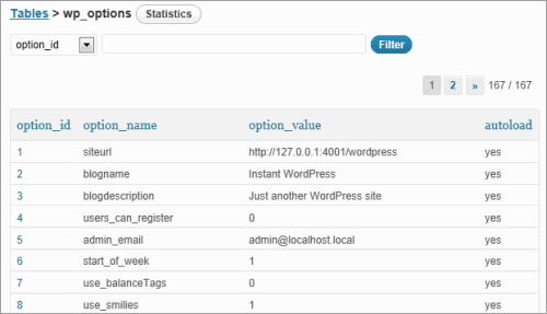WordPress: Database Peek