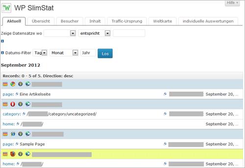 WordPress: Echtzeitstatistiken mit SlimStats