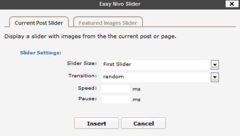 Der Easy Nivo Slider im Visuellen Editor von WordPress