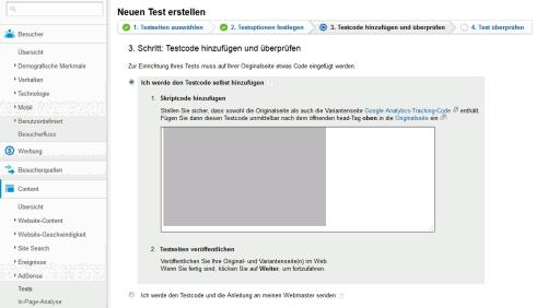 A/B-Test in Google Analytics: Schritt 3