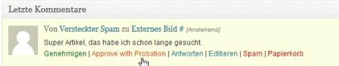 Kommentar-Moderation mit Comment Probation